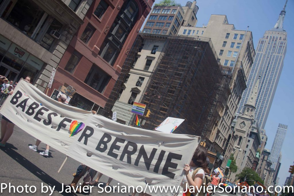 6/26/2016 - Supporters of Senator Bernie Sanders marching in the New York City Pride March.