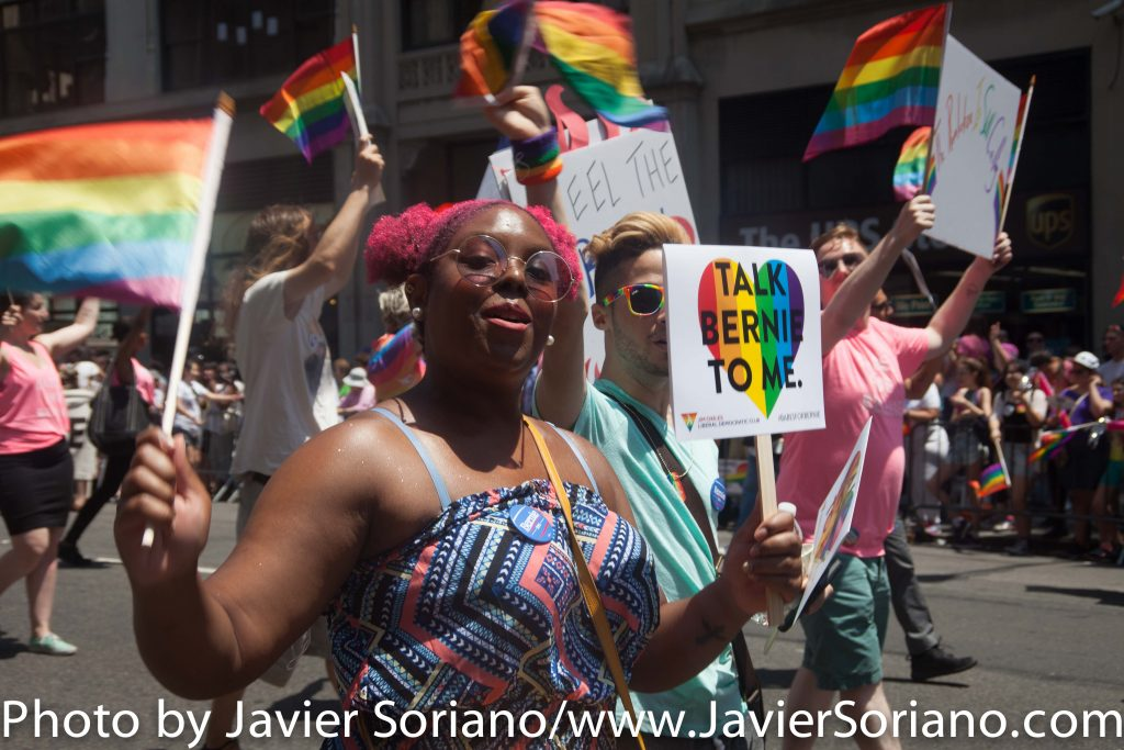 6/26/2016 – Supporters of Senator Bernie Sanders marching in the New York City Pride March.