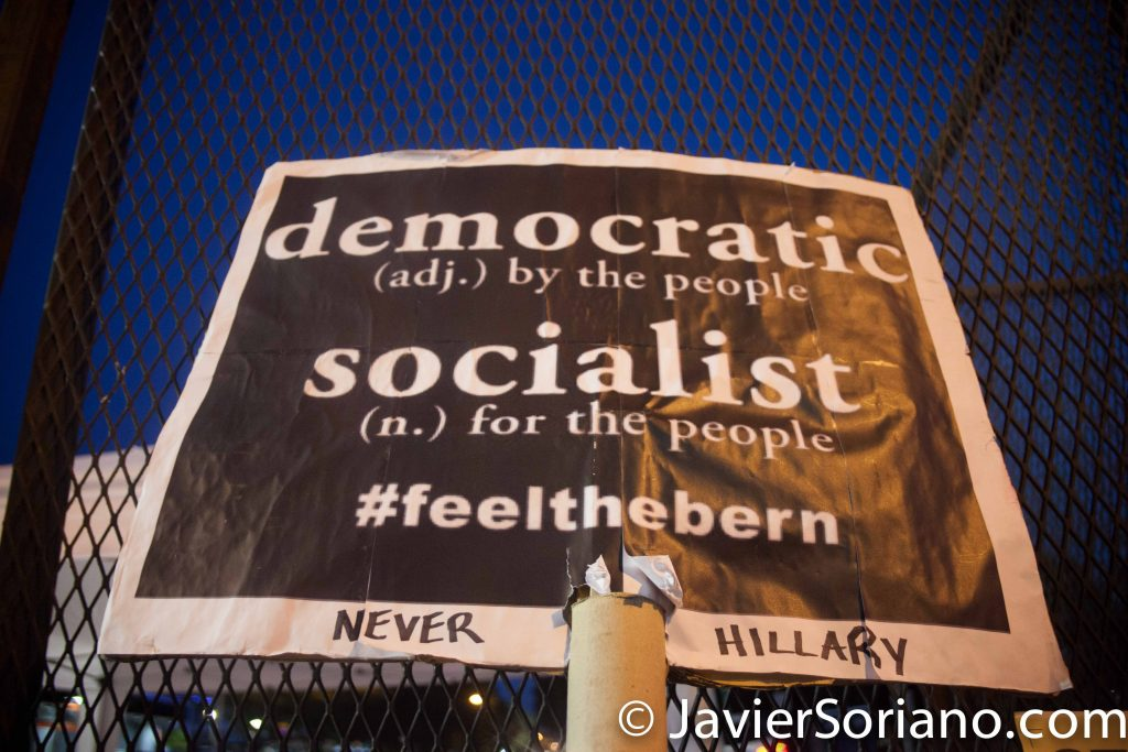 Tuesday, July 26th, 2016. Philadelphia, Pennsylvania. Hundreds of Bernie's supporters and other protesters. Photo by Javier Soriano/http://www.JavierSoriano.com/