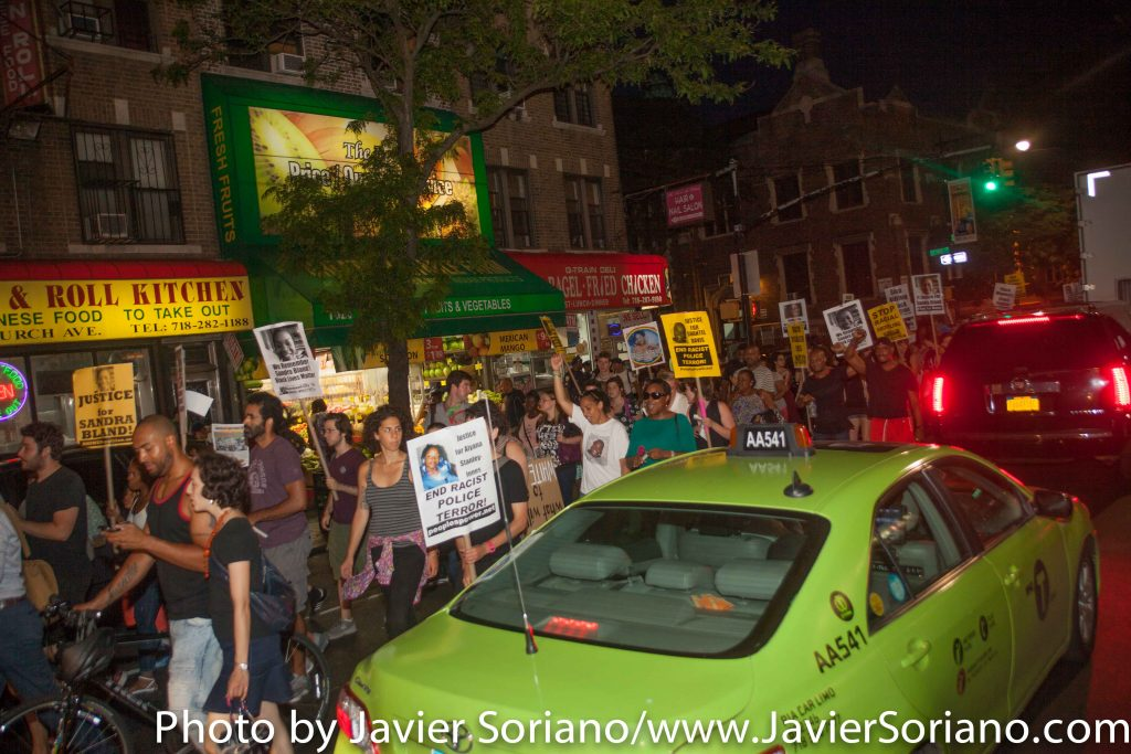7/13/16 Flatbush. Brooklyn, NYC - First year Anniversary of Sandra Bland's death. Black Lives Matter activists shut down streets in Flatbush.  Photo by Javier Soriano/http://www.JavierSoriano.com/