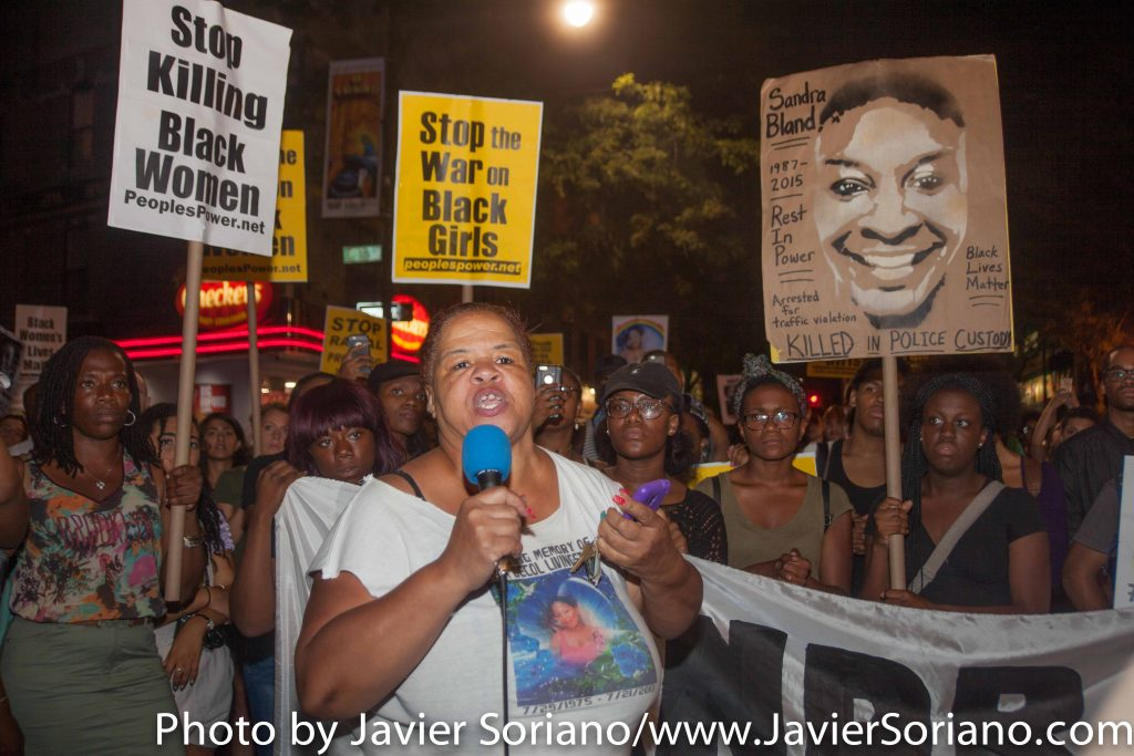 7/13/16 Flatbush. Brooklyn, NYC – First year Anniversary of Sandra Bland's death. Mother of Kyam Livingston and Black Lives Matter activists shut down streets in Flatbush. Photo by Javier Soriano/http://www.JavierSoriano.com/