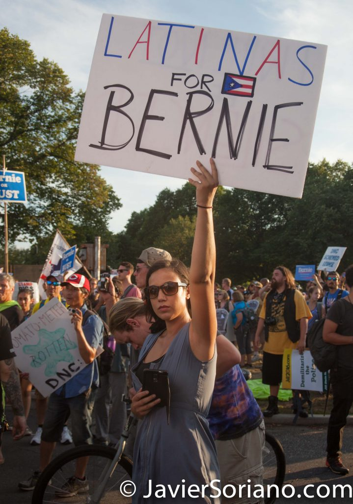 "7/26/2016 – Philadelphia, Pa. On Tuesday, July 26th, 2016, hundreds of Bernie's supporters and other protesters gathered in Philadelphia, Pennsylvania. Tuesday was the third day of protests against the corrupt DNC, Hillary Clinton and the mainstream media. ""Latinas for Bernie"