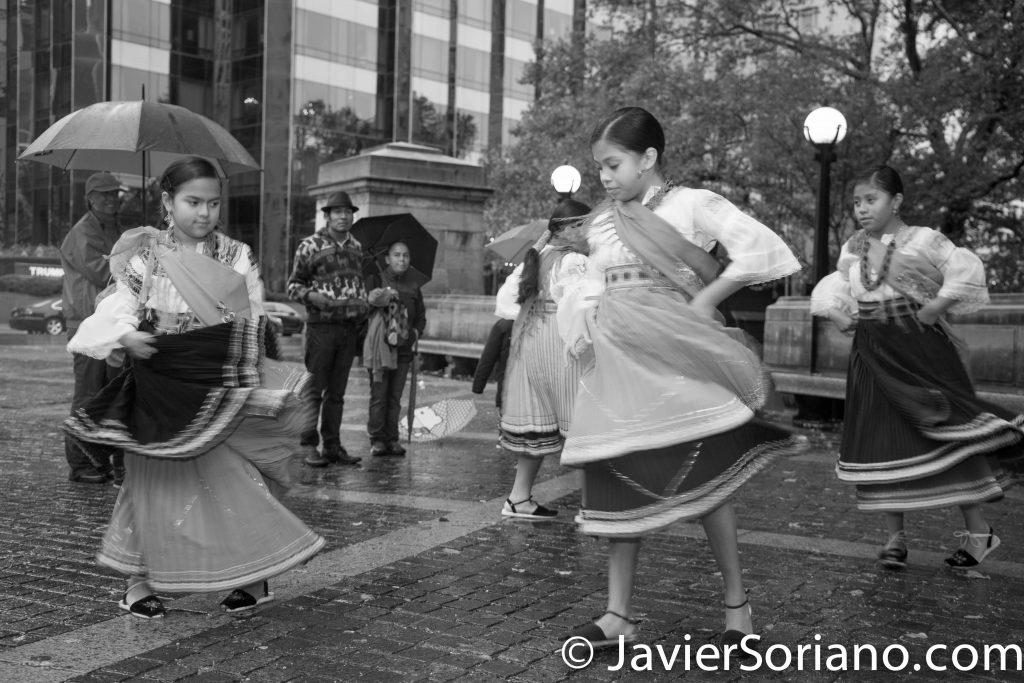 10/9/16 NYC - 9th Annual Indigenous Day Of Remembrance. Quechua young girls dancing. Water Is Sacred!  Photo by Javier Soriano/http://www.JavierSoriano.com/