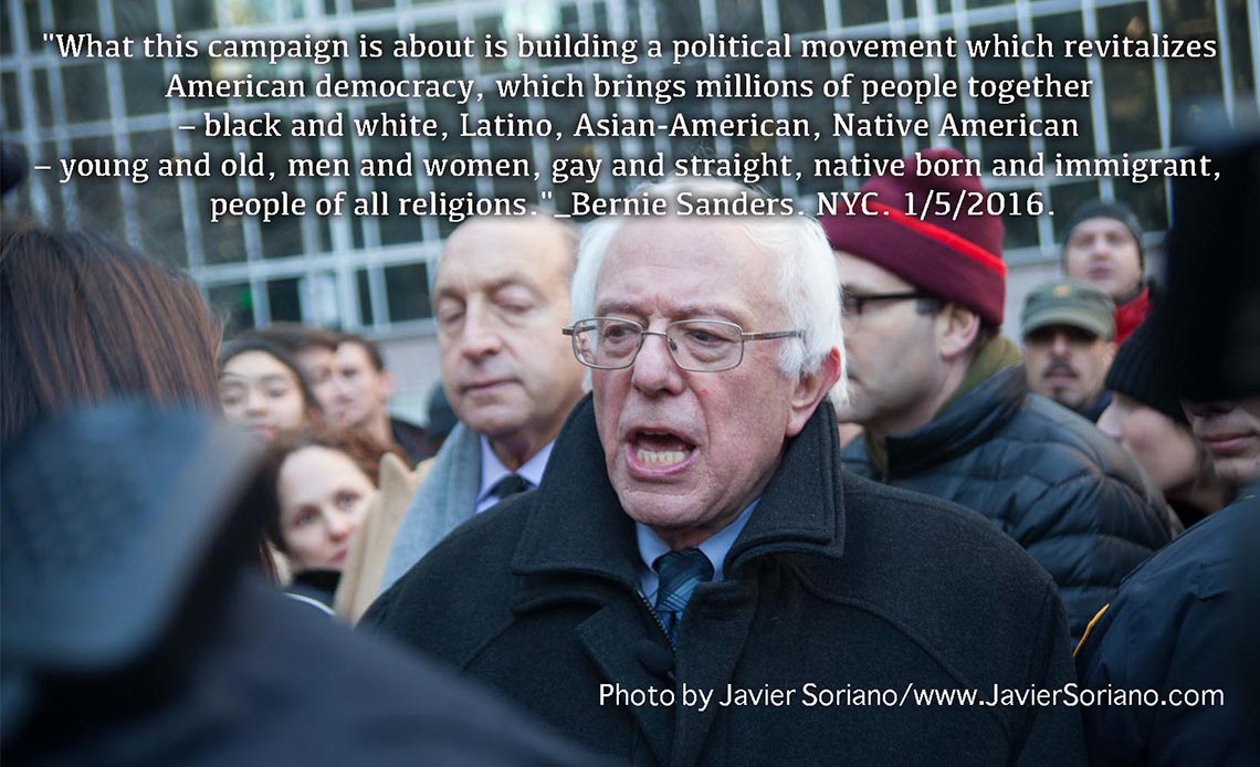 1/5/2016 Manhattan, NYC – Senator Bernie Sanders. Photo by Javier Soriano/http://www.JavierSoriano.com/