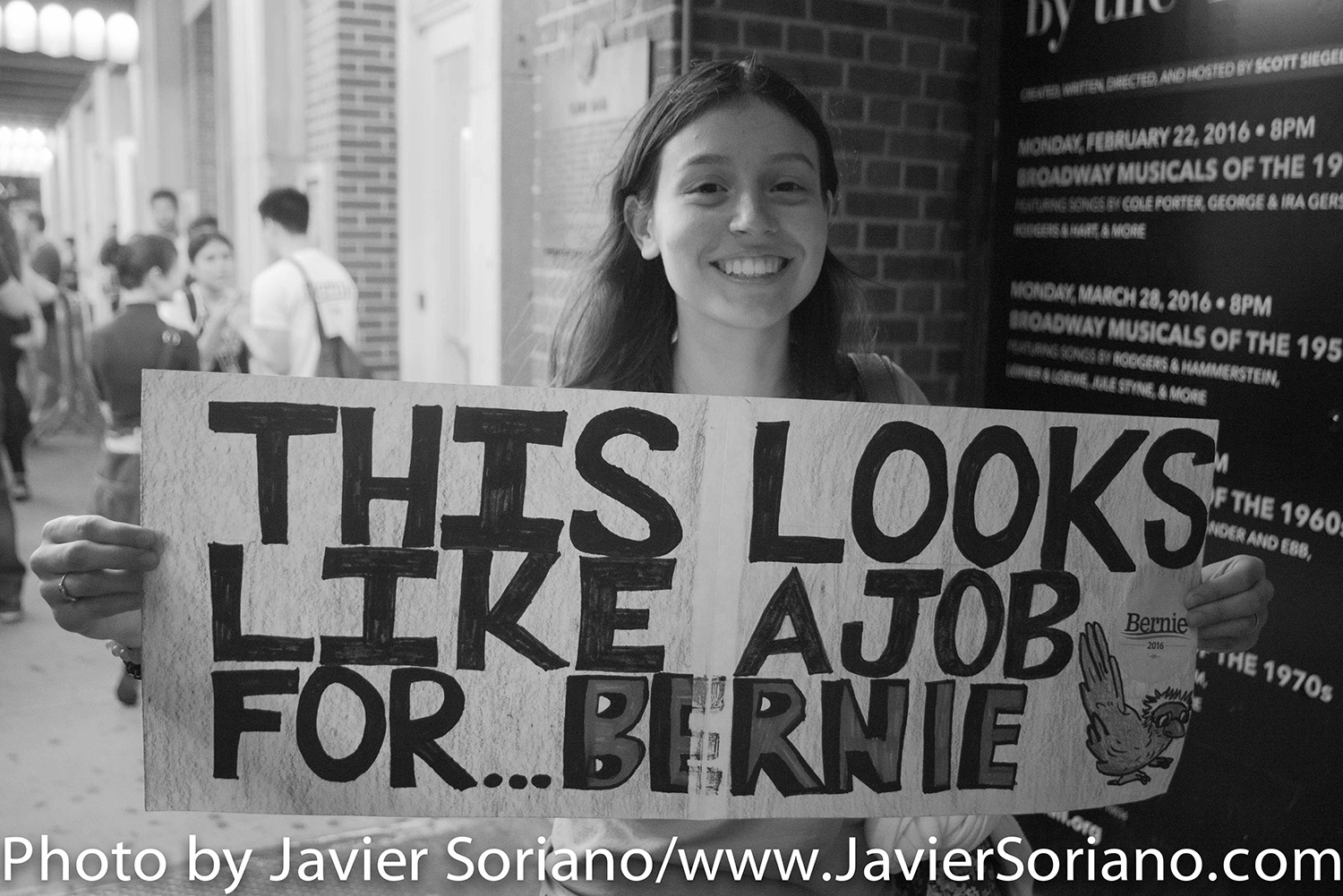 6/23/2016 Town Hall. Manhattan, NYC – Young woman supporting Bernie Sanders. Photo by Javier Soriano/http://www.JavierSoriano.com/