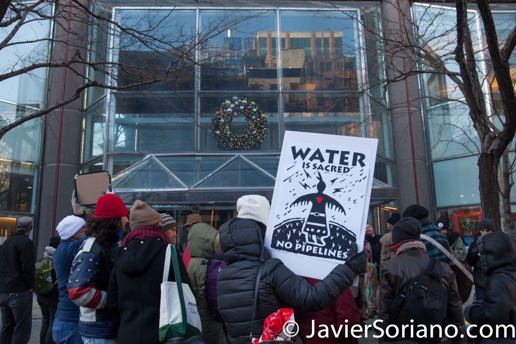 12/15/2016 NYC - Water protectors in front of CITI Group headquarters in Manhattan.  Water protectors want CITI Group to stop funding the Dakota Access Pipeline (DAPL). Photo by Javier Soriano/www.JavierSoriano.com
