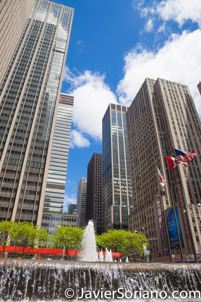 A fountain and skyscrapers in Manhattan, NYC. Photo by Javier Soriano/www.JavierSoriano.com