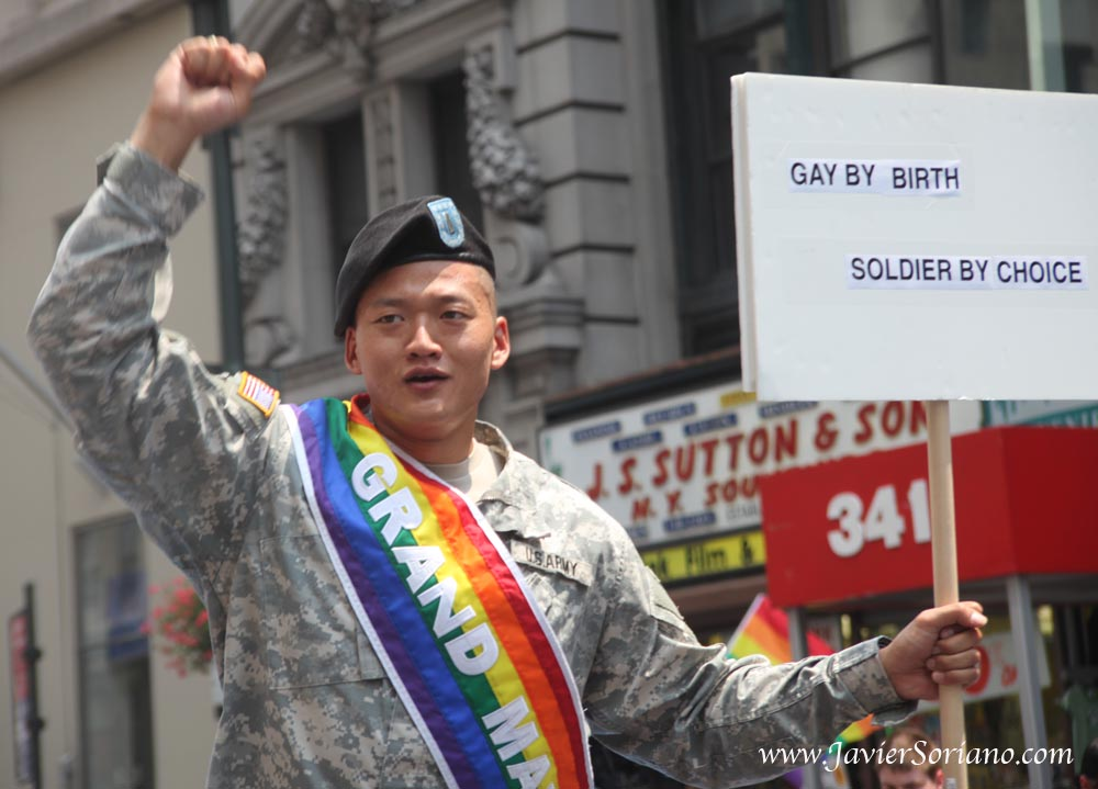 Sunday, June 27, 2010. Manhattan, New York City - Annual Lesbian, Gay, Bisexual and Trans PRIDE March. Dan Choi was one of the Grand Marshals.  Photo by Javier Soriano/www.JavierSoriano.com