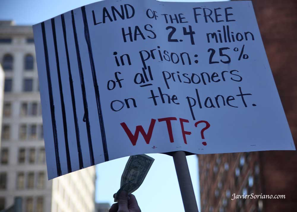 "Tuesday, May 1, 2012. New York City - May Day — International Workers' Day. ""Land of the FREE HAS 2.4 million in prison: 25% of all prisoners in the planet. WTF?""  Martes 1 de mayo de 2012. Ciudad de Nueva York - May Day - Día Internacional de los Trabajadores.    Photo by Javier Soriano/www.JavierSoriano.com"