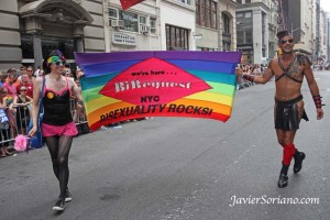 "Sunday, June 30, 2013. New York City - LGBTQ Pride March. ""Bisexuality rocks!"" Bisexuals say. Photo by Javier Soriano/www.JavierSoriano.com"