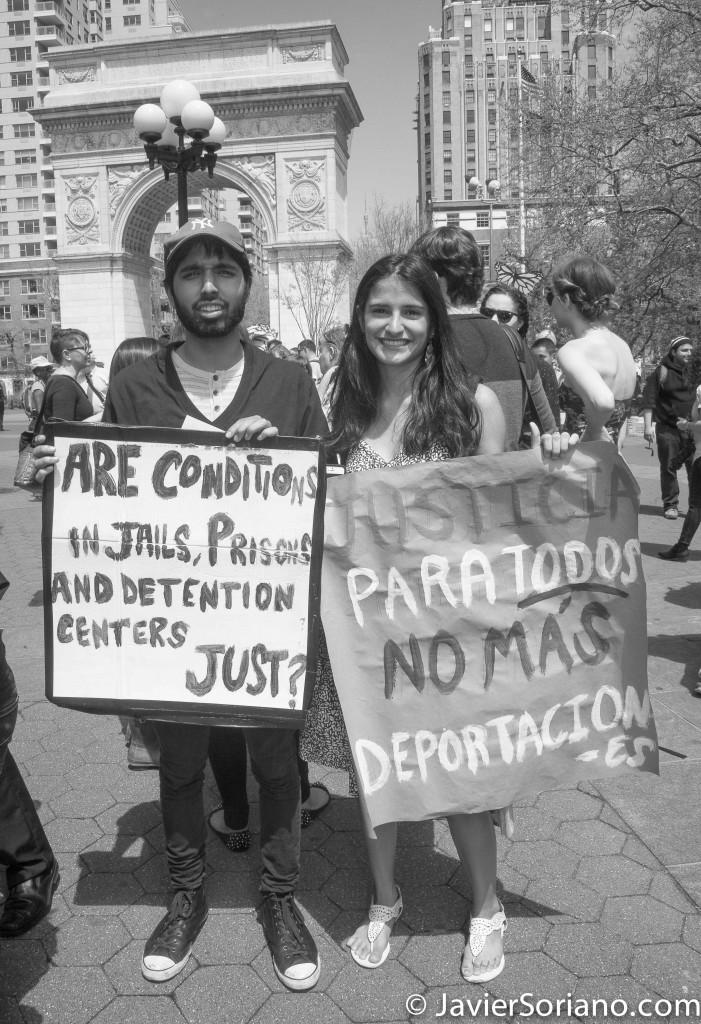 "Thursday, May 1, 2014. New York City – International Workers' Day or May Day. Washington Square Park. ""Are conditions in jails, prisons and detentions centers just?"" ""Justicia para todos. No más deportaciones"". Protesters in Washington Square Park. They marched to Union Square Park.   Jueves 1 de mayo de 2014. Ciudad de Nueva York: Día Internacional de los Trabajadores o May Day.   Photo by Javier Soriano/JavierSoriano.com"