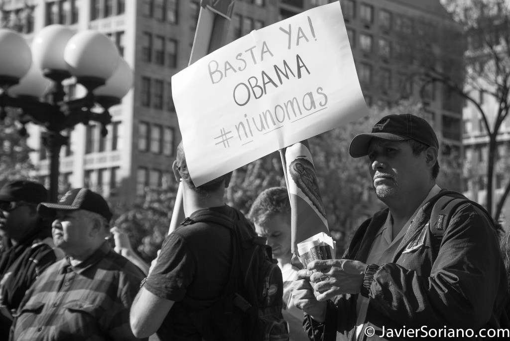"Thursday, May 1, 2014. New York City – International Workers' Day or May Day. Jueves 1 de mayo de 2014. Ciudad de Nueva York: Día Internacional de los Trabajadores o May Day. ""Basta ya Obama. #NiUnoMas"". Photo by Javier Soriano/JavierSoriano.com"
