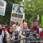 "Monday, July 14th, 2014. New York City - Pro-Palestinian supporters: ""Stop U.S-Israeli massacre in Gaza!"".  Photo by Javier Soriano/http://www.JavierSoriano.com/"