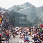 Sunday, September 21, 2014 - People's Climate March. Indigenous dancers in front of The Javits Center. Photo by Javier Soriano/www.JavierSoriano.com