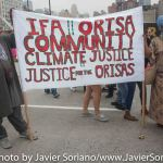 """Sunday, September 21, 2014 - People's Climate March. """"IFA. Orisa community. Climate justice. Justice for the Orishas."""""""