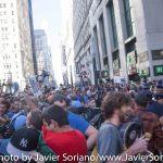 9/22/2014. NYC - Protesters are being pepper spray on Broadway and Wall St. in Manhattan. They were trying to get to the U.S. Stock Exchange (manifestantes están siendo rociados con gas pimienta en Broadway y Wall Street en Manhattan. Ellos estaban tratando de llegar a la Bolsa de Valores de Estados Unidos).