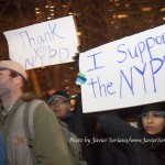 """12/19/2014 City Hall, NYC - Supporters of the NYPD. Their signs say, """"Thank You NYPD"""" and """"I support the NYPD"""". Photo by Javier Soriano/www.JavierSoriano.com"""