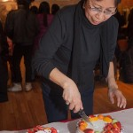 1/23/2015 NYC - Fay Chiang cutting her birthday cakes.   Photo by Javier Soriano/www.JavierSoriano.com