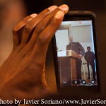 2/15/2015 NYC - A Black man recording with his cell phone the speech of Mr. Sekou Odinga. Photo by Javier Soriano/www.JavierSoriano.com