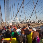 5/14/2015 - March across the Brooklyn Bridge. People demand stronger rent laws and affordable housing for New Yorkers. Photo by Javier Soriano/http://www.JavierSoriano.com/