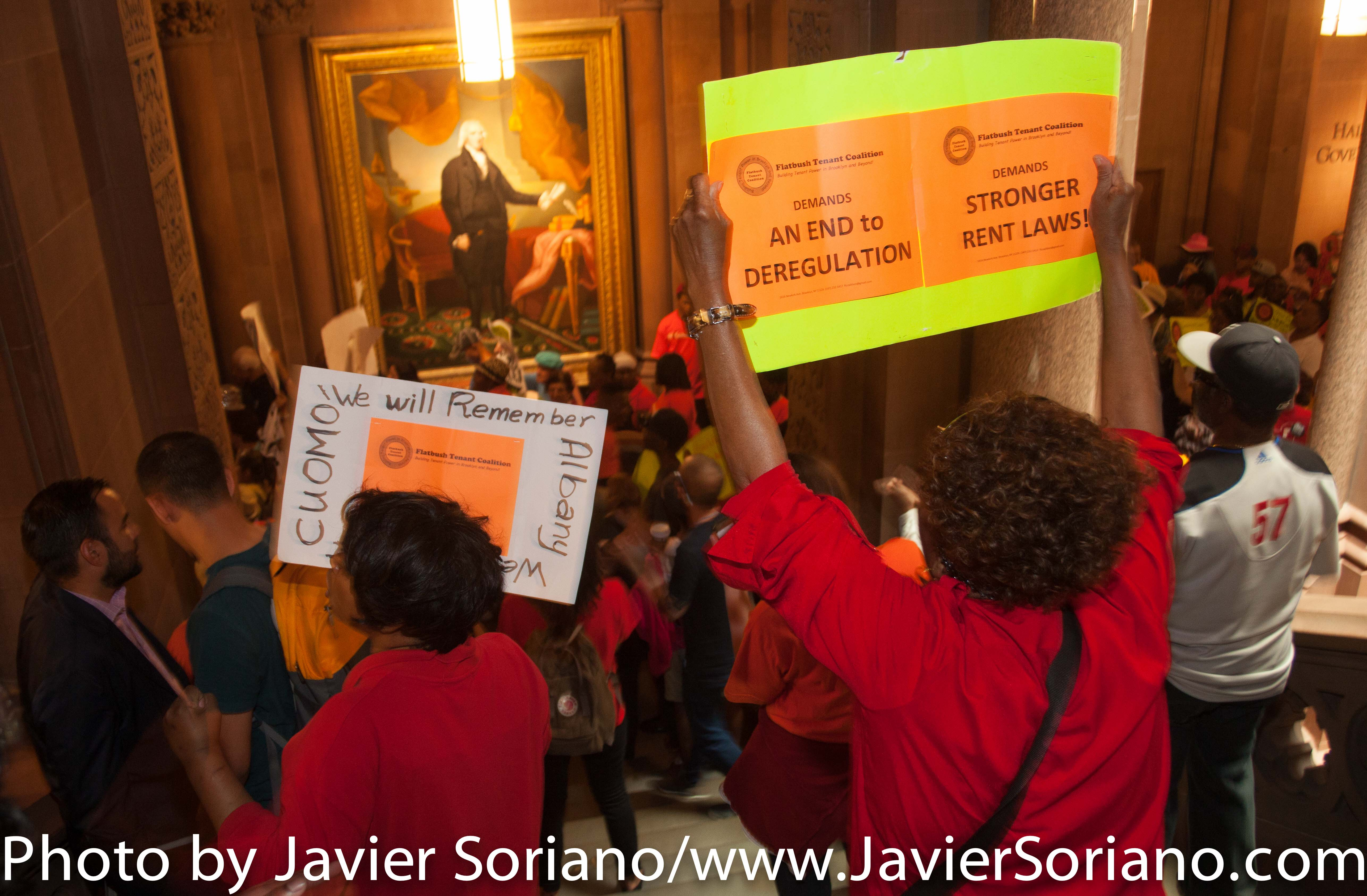 6/24/2015 - The Capitol in Albany, Capital of New York State. Demonstrators demand stronger rent laws. Photo by Javier Soriano/http://www.JavierSoriano.com/