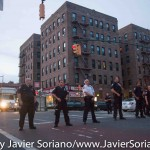 7/6/2015 Brooklyn, NYC - NYPD officers did not allow #People's Monday activists keep walking in the street to the 71 precinct. Photo by Javier Soriano/http://www.JavierSoriano.com/