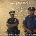 7/6/2015 Brooklyn, NYC - NYPD officers observing #PeoplesMonday demonstrators in front of the 71 precinct. Photo by Javier Soriano/http://www.JavierSoriano.com/