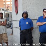 8/3/2015 Flatbush, Brooklyn, NYC - NYPD officers observing demonstrators demanding justice for Alando Brissett. Photo by Javier Soriano/http://www.JavierSoriano.com/