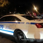 9/19/2015, Flatbush, NYC - An American-Panamanian man was shot here today at around 5:41 p.m.  A police car from the 70 pct blocking Church Ave where the Black Latino man was shot. Photo by Javier Soriano/http://www.JavierSoriano.com/