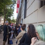 10/05/2015 NYC - People waiting to enter to the Wollman Hall. The New School. Photo by Javier Soriano/http://www.JavierSoriano.com/