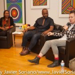 10/05/2015 NYC - Left to right: bell hooks, Theaster Gates and Laurie Anderson. Photo by Javier Soriano/http://www.JavierSoriano.com/