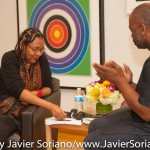 10/05/2015 NYC - Left to right: bell hooks and Theaster Gates. Photo by Javier Soriano/http://www.JavierSoriano.com/