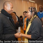 10/06/2015 NYC. The New School - bell hooks and Kevin Powell at the end of the conversation. Photo by Javier Soriano/http://www.JavierSoriano.com/