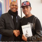10/06/2015 NYC. The New School - Kevin Powell and a young Black man who attended the conversation between Kevin and bell hooks. Kevin gave his book, The Education of Kevin Powell: A Boy's Journey into Manhood to this young man. Photo by Javier Soriano/http://www.JavierSoriano.com/