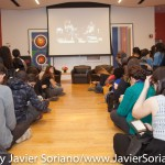 10/07/2015 NYC. The New School - People waiting for the conversation between bell hooks + Darnell Moore + Marci Blackman.  The room was full, they had to sit on the floor.  Photo by Javier Soriano/http://www.JavierSoriano.com/