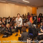 10/07/2015 NYC. The New School - bell hooks, Darnell Moore and Marci Blackman entering the Wollman Hall full of people.  The room was full, they had to sit on the floor.  Photo by Javier Soriano/http://www.JavierSoriano.com/