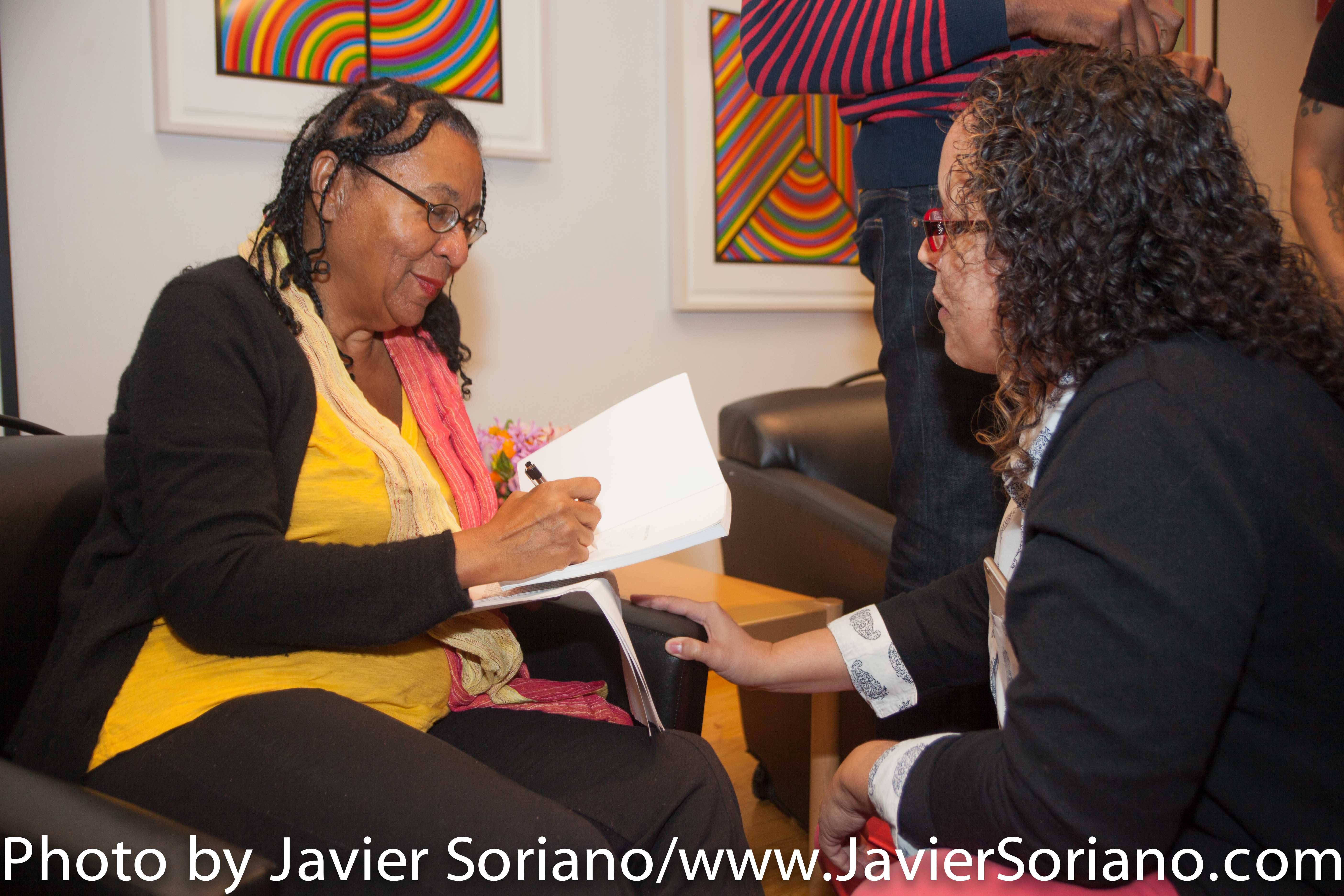 bell hooks + Marci Blackman + Darnell Moore: Moving from Pain to Power: Confronting Loss. Wednesday, October 7, 2015. Wollman Hall, Eugene Lang College. The New School. 65 West 11th Street. Room B500, New York City. Photo by Javier Soriano/http://www.JavierSoriano.com/