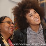 10/07/2015 NYC. The New School - bell hooks posing for a picture with a woman who attended the discussion between bell, Darnell Moore and Marci Blackman.  Photo by Javier Soriano/http://www.JavierSoriano.com/