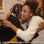 10/07/2015 NYC. The New School - A young woman hugging bell hooks after the discussion between bell,  Darnell Moore and Marci Blackman Photo by Javier Soriano/http://www.JavierSoriano.com/