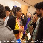 10/07/2015 NYC. The New School - bell hooks talking with a young man who attended the conversation. Photo by Javier Soriano/http://www.JavierSoriano.com/
