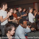 10/08/2015 NYC. The New School - People who attended the conversation between bell hooks and Charles Blow standing up and clapping.  Photo by Javier Soriano/http://www.JavierSoriano.com/