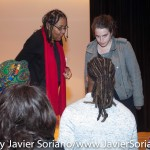 10/09/2015 NYC. The New School - bell hooks and a handsome Black man who attended the conversation between her and Beverly Guy-Sheftall.  Photo by Javier Soriano/http://www.JavierSoriano.com/