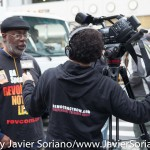 10/24/2015 NYC - Democracy Now journalist interviewing Carl Dix at the rally in support of people killed by police in the United States of America.  Photo by Javier Soriano/http://www.JavierSoriano.com/