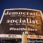 "7/26/2016 - Philadelphia, Pa.  ""Democratic (adj.) by the people. Socialist (n.) for the people. #FeelTheBern"" Photo by Javier Soriano/http://www.JavierSoriano.com/"