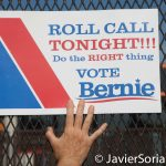 "7/26/2016 - Philadelphia, Pa.  ""Roll call tonight!!! Do the right thing. Vote Bernie."" Photo by Javier Soriano/http://www.JavierSoriano.com/"