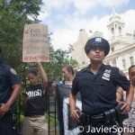 8/2/2016 - NYPD agents and #ShutDownCityHallNYC demonstrators in Abolition Park ( City Hall Park). NYC. Photo by Javier Soriano/http://www.JavierSoriano.com/