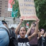 8/2/2016 - #ShutDownCityHallNYC demonstrators in Abolition Park ( City Hall Park). NYC. Photo by Javier Soriano/http://www.JavierSoriano.com/