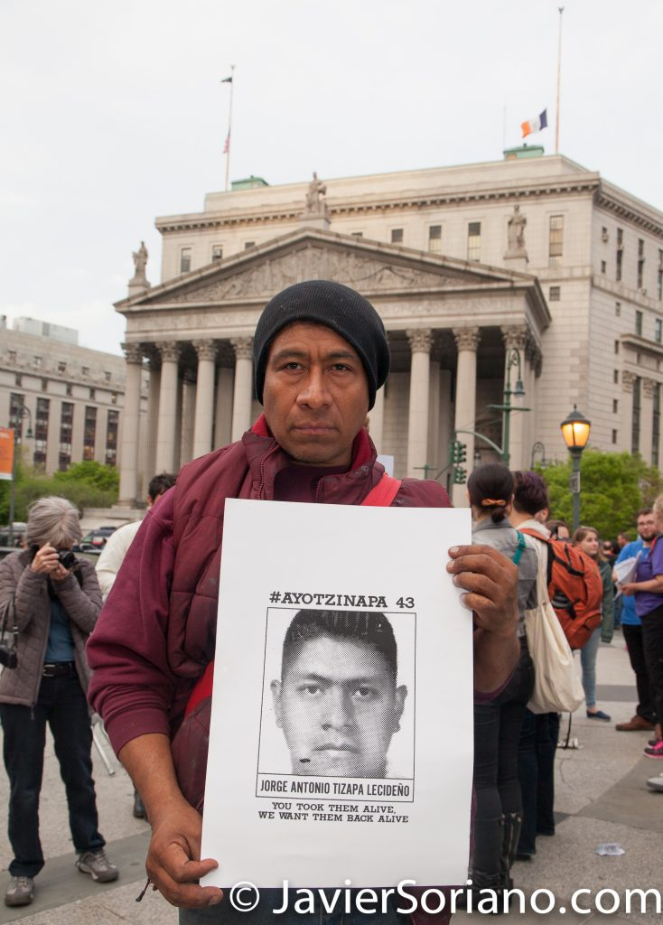 5/01/2017 Foley Square Park, NYC - International Workers' Day (MAYDAY). Padre de un estudiante secuestrado de Ayotzinapa estubo presente. Photo by Javier Soriano/www.JavierSoriano.com
