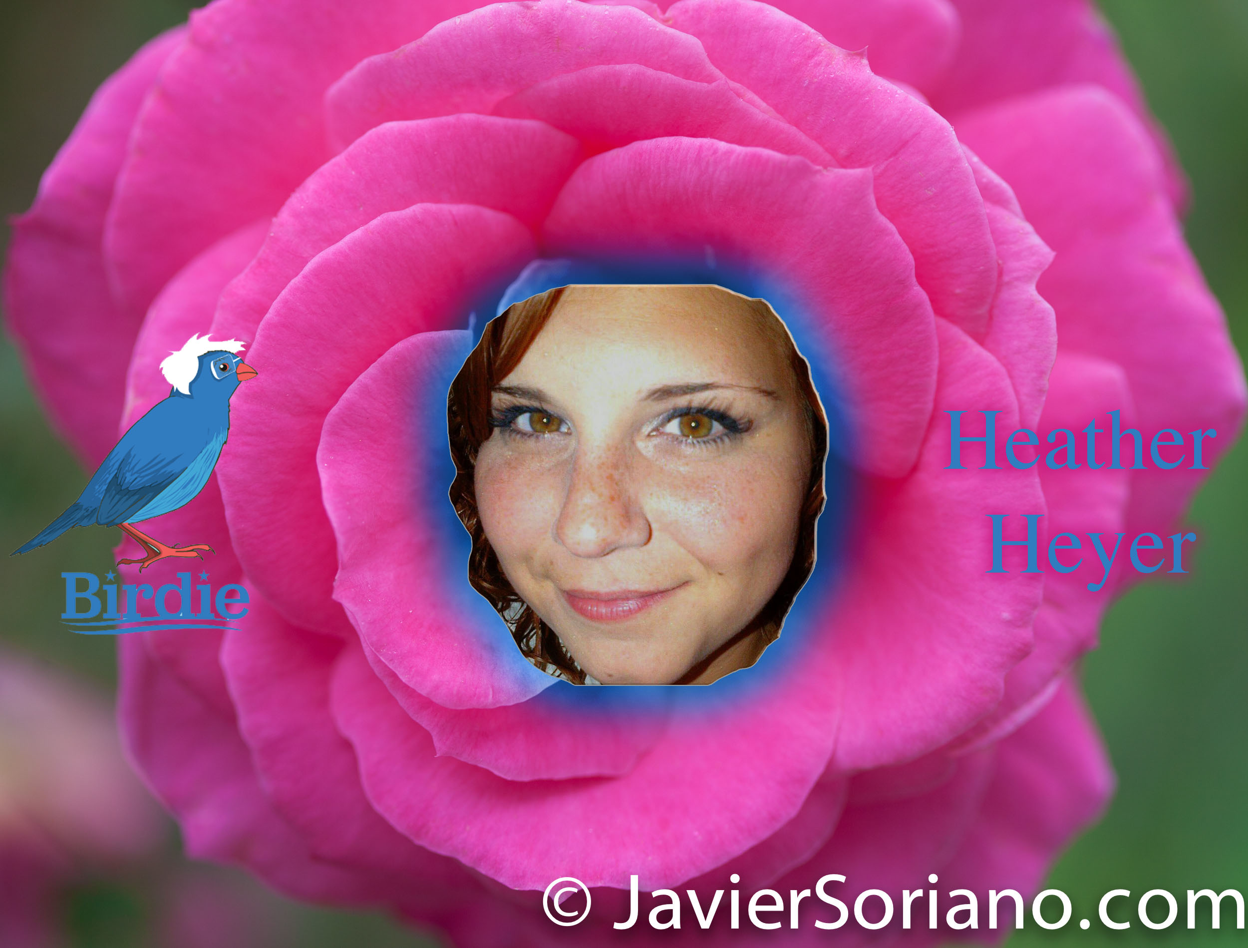 "I made this in honor of Heather Heyer. On Saturday, August 12, 2017, Heather Heyer was killed by a terrorist white man as she protested Neo-Nazism and white supremacy in Charlottesville, Virginia. Heather loved people! My condolences to her family. NOTE: I took her picture from her Facebook account and ""Birdie Sanders"" from the Internet. I took the rose picture at the Brooklyn Botanic Garden in NYC. Artwork by Javier Soriano/www.JavierSoriano.com"