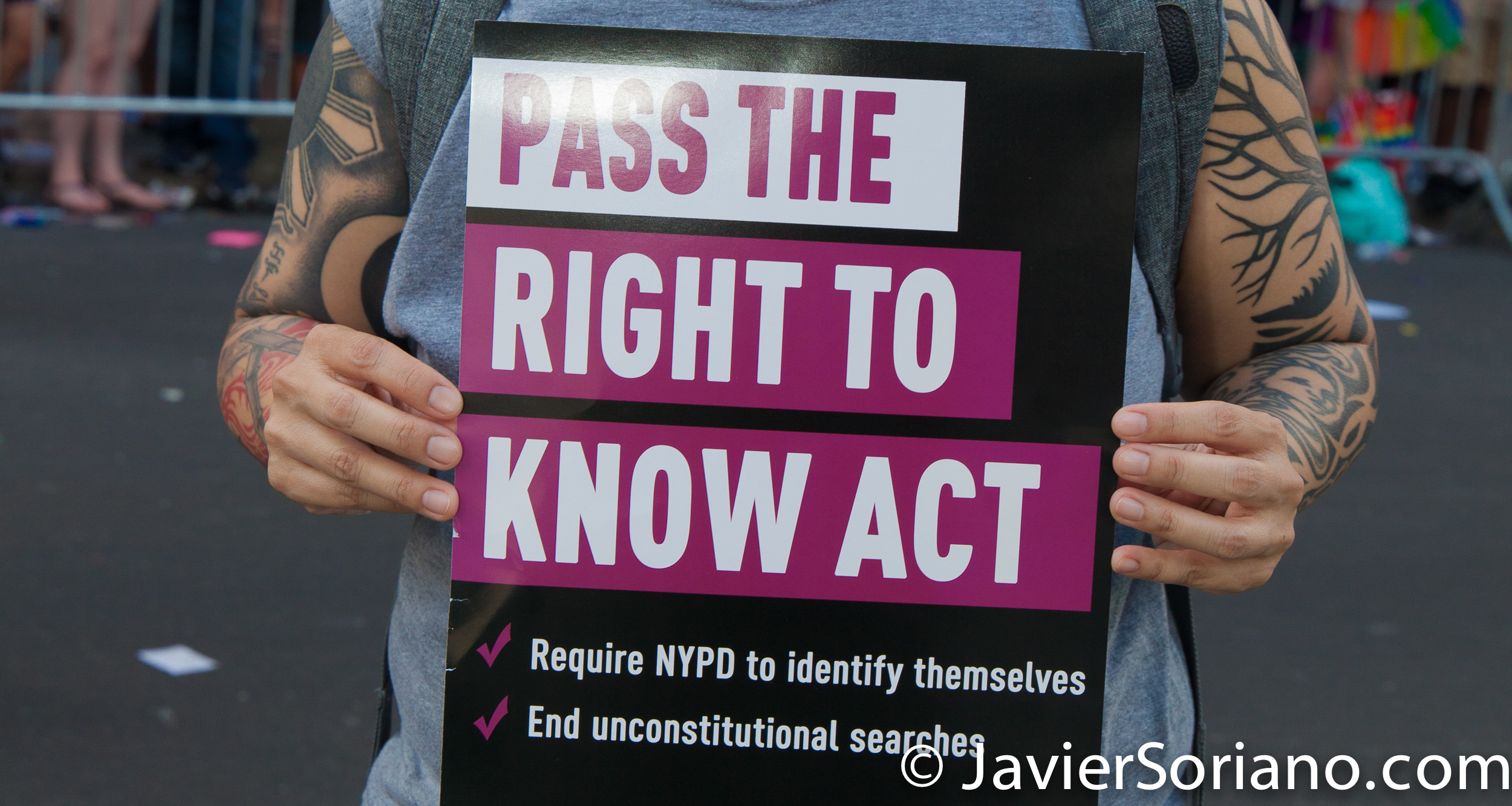 "6/25/2017 Manhattan, NYC - Pride March 2017. ""Pass The Right To Know Act."" Photo by Javier Soriano/www.JavierSoriano.com"
